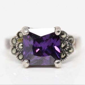 Jewelry - Sterling Silver Marcasite & Purple CZ Ring 6